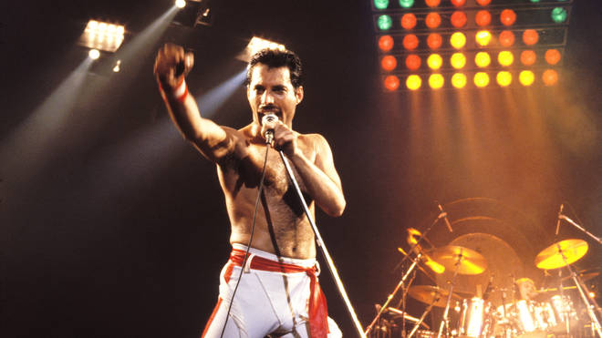 Freddie Mercury onstage with Queen in 1982