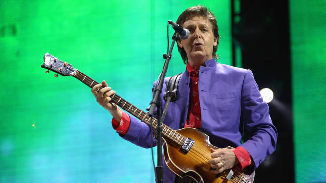 Paul McCartney onstage at Glastonbury festival, 26 June 2004