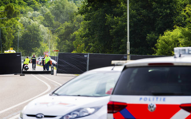 Police near the site of the Pinkpop festival in Landgraaf where a van slammed into pedestrians