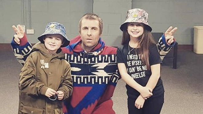 Liam Gallagher meets 8-year-old fan Luca and his family backstage at Newcastle gig