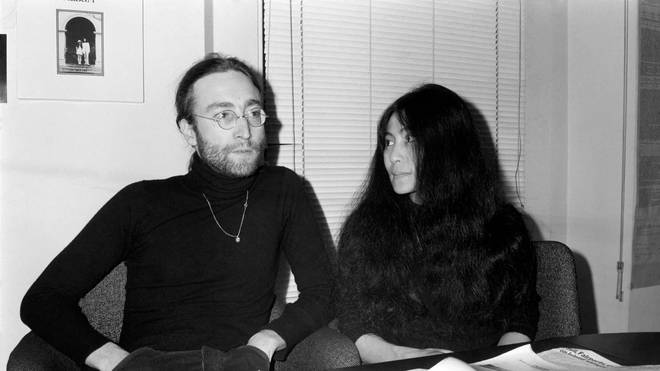 Beatles singer John Lennon with wife Yoko Ono at Apple headquarters as he sends his MBE back to The Queen, 25 November 1969