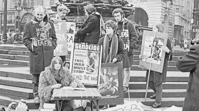 English model and actress Jean Shrimpton joins a group of anti-war protestors campaigning to end the killing of civilians in Biafra and the Nigerian Civil War, 24 December 1969