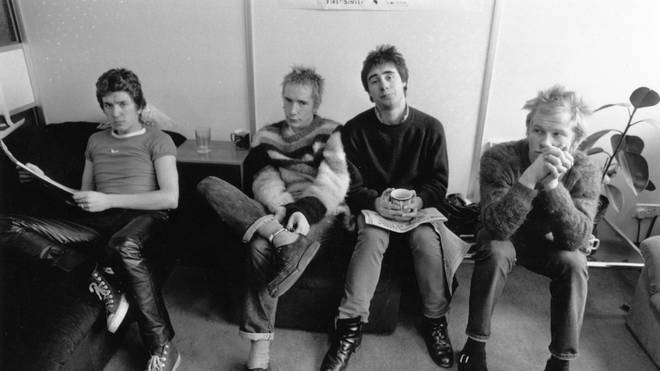Sex Pistols original line-up with Steve Jones, Johnny Rotten (John Lydon), Glen Matlock and Paul Cook